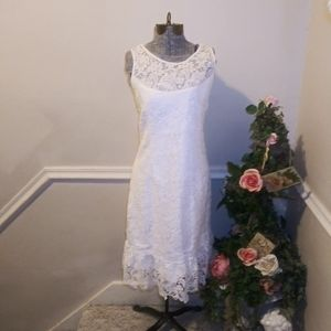 NWT White House Blk Market White Lace Sheath Dress